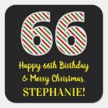 [ Thumbnail: Happy 66th Birthday & Merry Christmas, Custom Name Sticker ]