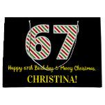 [ Thumbnail: Happy 67th Birthday & Merry Christmas, Custom Name Gift Bag ]