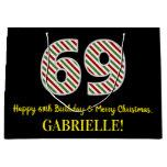 [ Thumbnail: Happy 69th Birthday & Merry Christmas, Custom Name Gift Bag ]