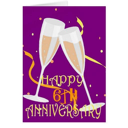 6th Wedding Anniversary Champagne Celebration Greeting Card