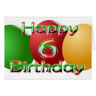 Happy 6th Birthday Balloon Card