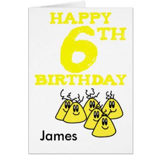 Happy 6th Birthday cartoon aliens name Card