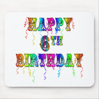 Happy 6th Birthday Circus Font Mouse Pad