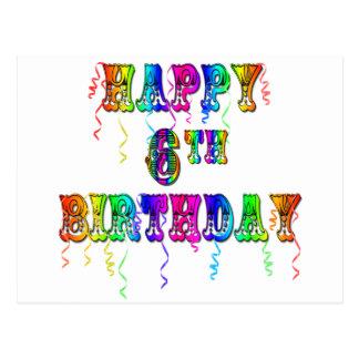 Happy 6th Birthday Circus Font Postcard