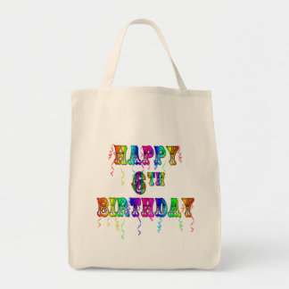 Happy 6th Birthday Circus Font Tote Bag
