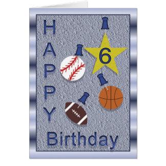 Happy 6th Birthday Sports Themed Card