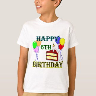 Happy 6th Birthday with Cake, Balloons and Candle T-Shirt