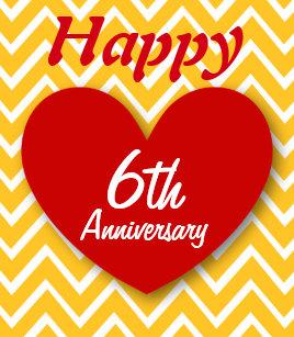 Hy 6th Wedding Anniversary Gold Chevrons B06 Card