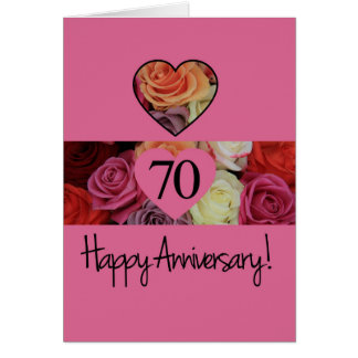 Happy 70th Anniversary roses Greeting Card