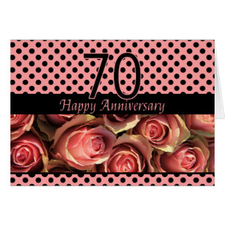 Happy 70th Anniversary roses Card