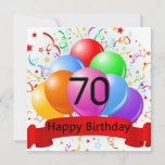 "Happy 70th Birthday Balloons Banner Card<br><div class=""desc"">Happy Birthday salutations with stars,  streamers,  balloons and banner.</div>"