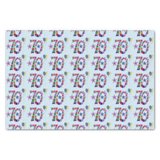 """Happy 70th Birthday Colorful Balloons 10"""" X 15"""" Tissue Paper"""