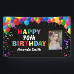 """Happy 70th Birthday Colorful Balloons Confetti Banner<br><div class=""""desc"""">Happy 70th Birthday Colorful Balloons Confetti Photo Banner. For further customization,  please click the """"Customize it"""" button and use our design tool to modify this template.</div>"""