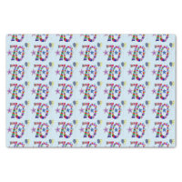 Happy 70th Birthday Colorful Balloons Tissue Paper