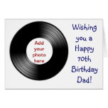 Happy 70th birthday for Dad with vinyl record Greeting Cards