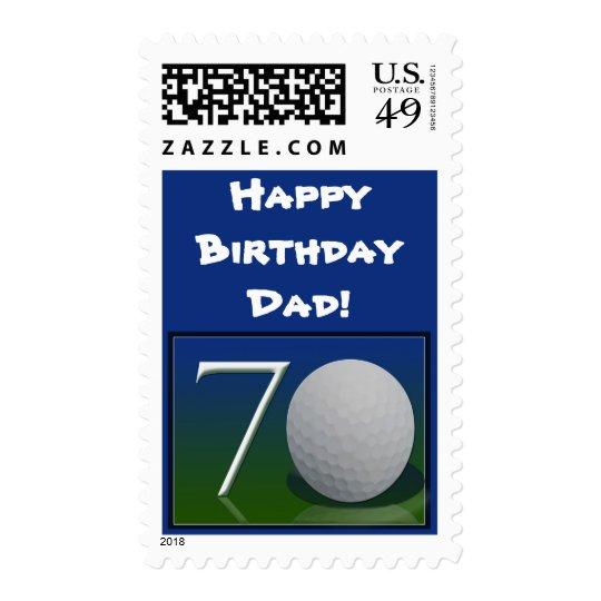 Happy 70th Birthday for golf nut Postage