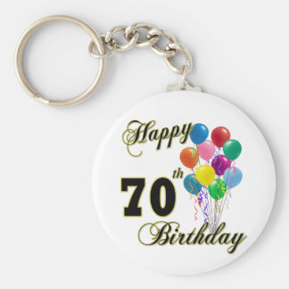 Happy 70th Birthday Gifts and Birthday Apparel Basic Round Button Keychain