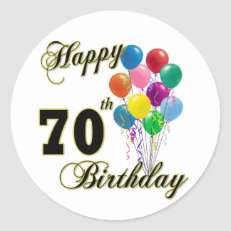 Happy 70th Birthday Gifts and Birthday Apparel Classic Round Sticker