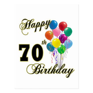 Happy 70th Birthday Gifts and Birthday Apparel Postcard
