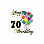 Happy 70th Birthday Gifts and Birthday Apparel Post Cards
