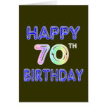 Happy 70th Birthday Gifts in Balloon Font Greeting Card