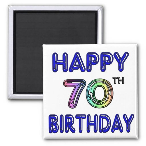 Happy 70th Birthday Gifts in Balloon Font Refrigerator Magnet