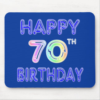 Happy 70th Birthday Gifts in Balloon Font Mouse Pad