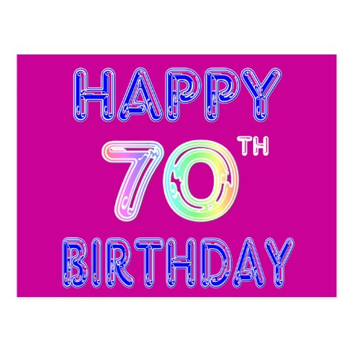 Happy 70th Birthday Gifts in Balloon Font Postcard