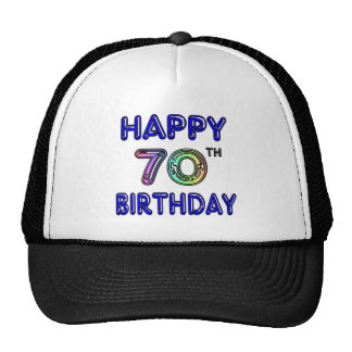 Happy 70th Birthday Gifts in Balloon Font Trucker Hat