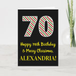 [ Thumbnail: Happy 70th Birthday & Merry Christmas, Custom Name Card ]