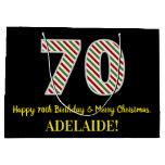[ Thumbnail: Happy 70th Birthday & Merry Christmas, Custom Name Gift Bag ]