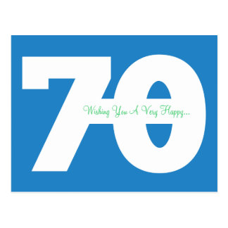 Happy 70th Birthday Milestone Postcards - in Blue