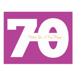 Happy 70th Birthday Milestone Postcards - Magenta