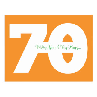 Happy 70th Birthday Milestone Postcards - Orange