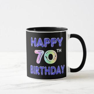 Happy 70th Birthday Mug in Balloon Font