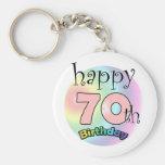 Happy 70th Birthday (pink) Basic Round Button Keychain