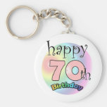 Happy 70th Birthday (pink) Keychain