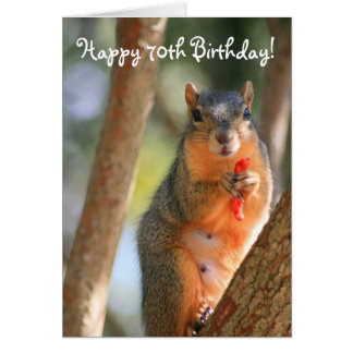 Happy 70th Birthday Squirrel greeting card