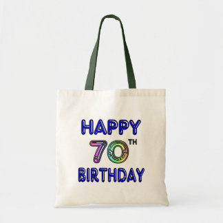 Happy 70th Birthday Tote Bag in Balloon Font