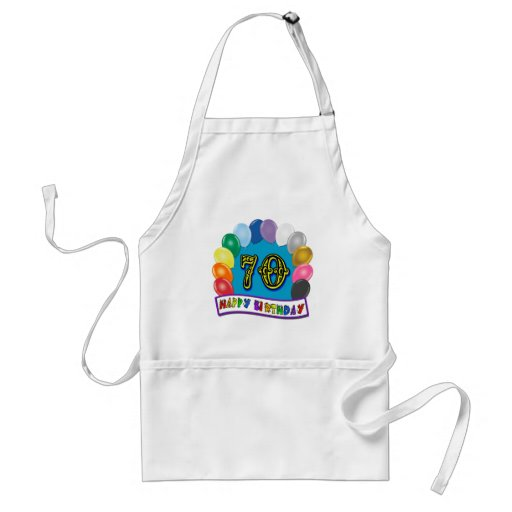 Happy 70th Birthday with Balloons Adult Apron