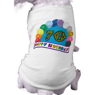 Happy 70th Birthday with Balloons Doggie T Shirt