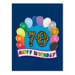 Happy 70th Birthday with Balloons Post Card