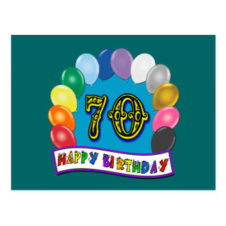 Happy 70th Birthday with Balloons Postcard