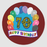 Happy 70th Birthday with Balloons Round Stickers
