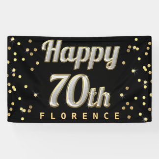 Happy 70th Bling Typography Gold Confetti Black Banner