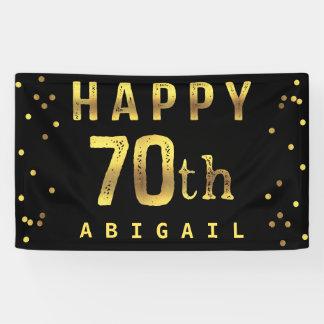Happy 70th Faux Gold Foil Confetti Black Banner