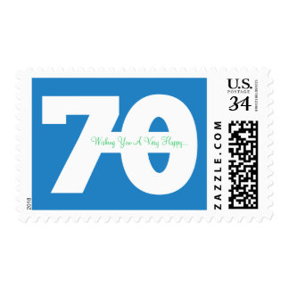 Happy 70th Milestone Birthday Stamps - in Blue
