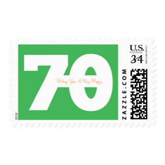 Happy 70th Milestone Birthday Stamps - in Green
