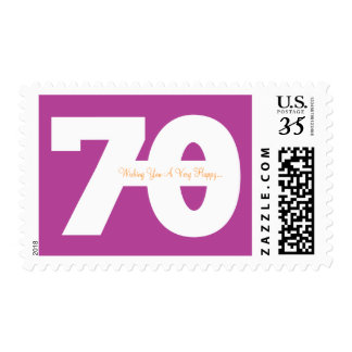 Happy 70th Milestone Birthday Stamps - in Magenta