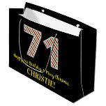 [ Thumbnail: Happy 71st Birthday & Merry Christmas, Custom Name Gift Bag ]